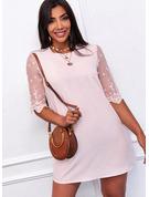 Koronka Jednolity Suknie shift Rękawy 1/2 Mini Nieformalny Tunika Modne Suknie