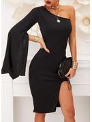 Pevný Pouzdrové Volný Rukáv Dlouhé rukávy Rukáv s rozparkem Midi Malé černé Party Módní šaty