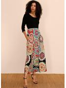 Květiny Tisk Do tvaru A 3/4 rukávy Maxi Boho Neformální Dovolená Skaterové Módní šaty