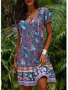 Floral Imprimeu Bir Çizgi Mâneci Scurte Midi Boho gündelik Tatil Patenci Moda Elbiseler