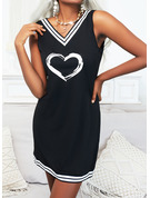 Impresión raya Corazón Vestidos sueltos Sin mangas Mini Casual Franelilla Vestidos de moda