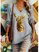 Animal Print Sequins V-Neck Long Sleeves Christmas T-shirt