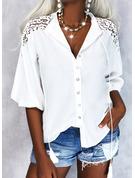 Einfarbig V-Ausschnitt 3/4 Ärmel Lässige Kleidung Hemd Blusen