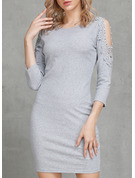 Solid Bodycon 3/4 Sleeves Mini Party Casual Elegant Sexy Sweater Dresses