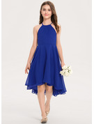 A-Line Scoop Neck Asymmetrical Chiffon Junior Bridesmaid Dress With Ruffle