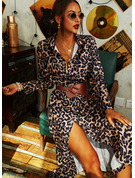 Leopard Sheath Long Sleeves Maxi Casual Dresses