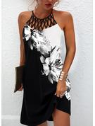 Color Block Floral Print Shift Sleeveless Midi Casual Dresses