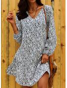 Floral Print Shift Long Sleeves Mini Casual Vacation Tunic Dresses