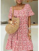 Floral Print Shift 1/2 Sleeves Midi Casual Vacation Dresses