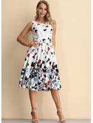 Animal Print Floral A-line Sleeveless Midi Party Skater Dresses