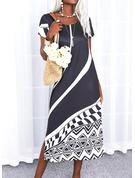 カラーブロック 印刷 シフトドレス 半袖 マキシ カジュアル 休暇 Tシャツ ファッションドレス