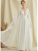 A-Line V-neck Floor-Length Chiffon Lace Wedding Dress With Sequins