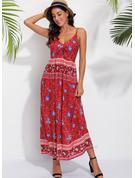 Print A-line Sleeveless Maxi Boho Casual Dresses