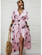 Print A-line 1/2 Sleeves Maxi Casual Vacation Skater Wrap Dresses