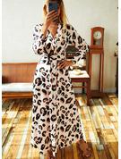 Leopardo Vestido linha-A Manga Comprida Maxi Elegante Skatista Vestidos na Moda