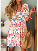 Floral Print Shift 1/2 Sleeves Midi Boho Casual Vacation Tunic Dresses