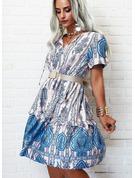 Impresión Vestido línea A Manga Corta Midi Boho Casual Patinador Vestidos de moda