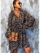 Leopard Shift Long Sleeves Mini Casual Tunic Dresses