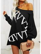 Imprimeu Shift Elbiseleri Mâneci Lungi Mini gündelik Tunică Moda Elbiseler