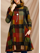 Plaid Shift Long Sleeves Midi Casual Tunic Dresses