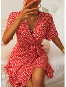 Floral Imprimeu Bir Çizgi Mâneci Scurte Mini gündelik Zarif Patenci Wrap Moda Elbiseler