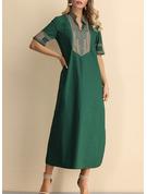 Print Shift 1/2 Sleeves Maxi Boho Casual Dresses