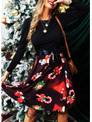 Print A-line Long Sleeves Midi Party Vintage Christmas Elegant Skater Dresses