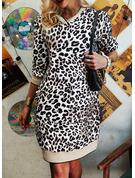 Leopard Sheath 3/4 Sleeves Mini Casual Dresses