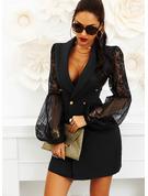 Pizzo Solido A trapezio Flare Sleeve Maniche lunghe Mini Piccolo nero Casuale Vestiti di moda