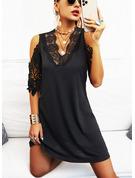 Encaje Sólido Cubierta Mangas 1/2 Midi Pequeños Negros Casual Vestidos de moda
