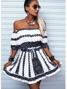 Print A-line 1/2 Sleeves Mini Casual Vacation Skater Dresses
