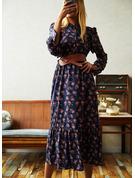 Print Sheath Long Sleeves Midi Casual Dresses