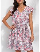 Floral Imprimeu Bir Çizgi Kolsuz Mini gündelik Patenci Moda Elbiseler