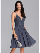 A-Line V-neck Knee-Length Chiffon Cocktail Dress With Beading Sequins