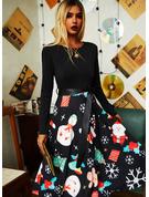 Druck A-Linien-Kleid Lange Ärmel Midi Party Jahrgang Weihnachten Skater Modekleider