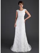 Sheath/Column Scoop Neck Court Train Lace Wedding Dress With Ruffle Beading