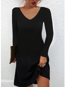 固体 シフトドレス 長袖 ミニ リトルブラックドレス カジュアル チュニック ファッションドレス