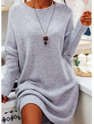 固体 シフトドレス 長袖 ミディ カジュアル チュニック ファッションドレス