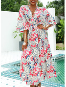 Print A-line 3/4 Sleeves Batwing Sleeves Maxi Boho Casual Vacation Skater Dresses