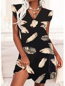 印刷 シフトドレス 半袖 ミディ カジュアル 休暇 ファッションドレス
