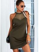 Einfarbig Etui Ärmellos Mini Lässige Kleidung Modekleider