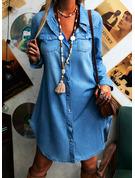 Einfarbig Etuikleider Lange Ärmel Midi Baumwollstoff Lässige Kleidung Hemdkleider Modekleider