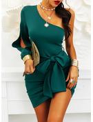 Solid Bodycon Long Sleeves Split Sleeve Mini Little Black Party Dresses
