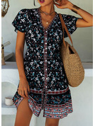 Floral Print A-line Short Sleeves Mini Boho Casual Vacation Skater Dresses