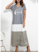 Animal Print Shift Short Sleeves Maxi Casual Dresses