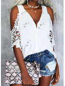 Impresión Corazón Top Con Hombros Mangas 1/2 Elegante Camisas Blusas