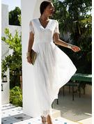 Koronka Jednolity Sukienka Trapezowa Krótkie rękawy Maxi Elegancki Łyżwiaż Modne Suknie