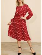Lace PolkaDot A-line Long Sleeves Midi Elegant Skater Dresses