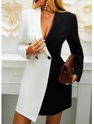 カラーブロック ボディコンドレス 長袖 ミニ カジュアル エレガント ファッションドレス