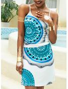 Print Sheath Sleeveless Midi Boho Casual Vacation Type Dresses
